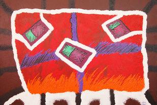 Boundaries of rural life by Najmuddin Kachwala, Abstract Painting, Acrylic on Canvas, Brown color