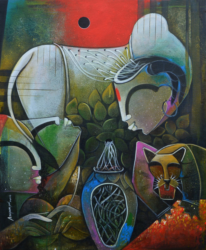 untitled 5 by anupam pal, Decorative Painting, Acrylic on Canvas, Green color