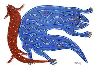 Bhil Art by Bhuri Bai, Tribal Painting, Acrylic on Paper, Blue color