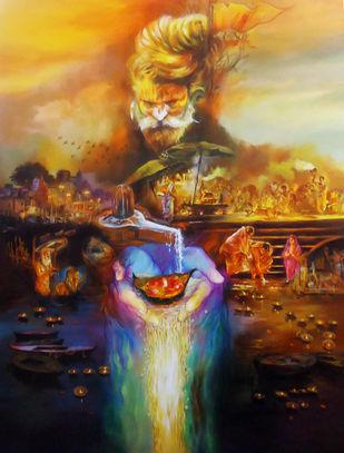 Har Har Mahadev by Shambhu Nath Goswami, Traditional Painting, Acrylic on Canvas, Brown color