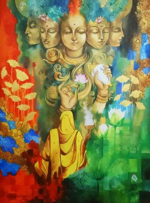 Bhakti by Shambhu Nath Goswami, Expressionism Painting, Acrylic & Ink on Canvas, Green color