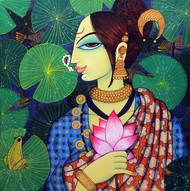 face 34 by Varsha Kharatmal, Decorative Painting, Acrylic on Canvas, Green color