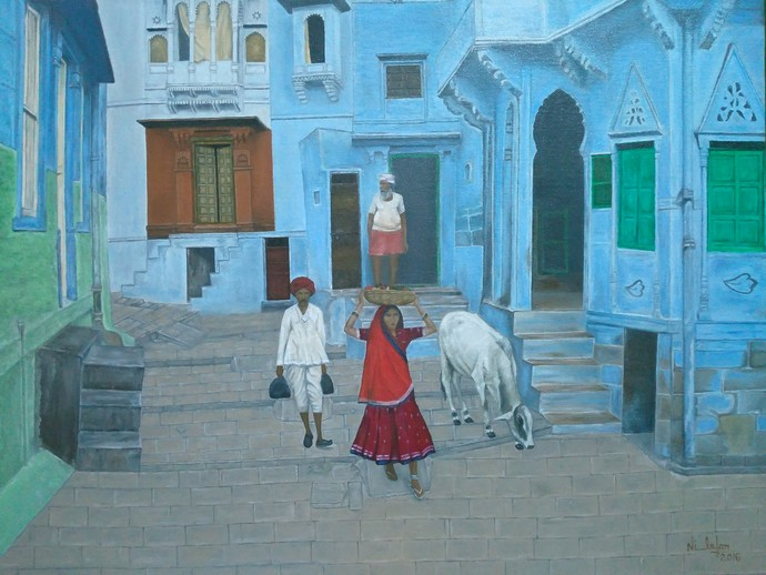 Indian Culture by Nilofar Ansari, Impressionism Painting, Oil on Canvas, Green color