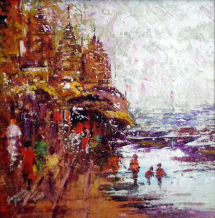 varanashi 2 by Ganesh Panda, Expressionism Painting, Acrylic on Canvas, Brown color