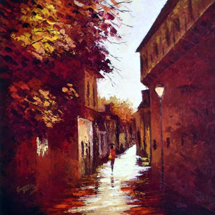 city lane by Ganesh Panda, Expressionism Painting, Acrylic on Canvas, Brown color