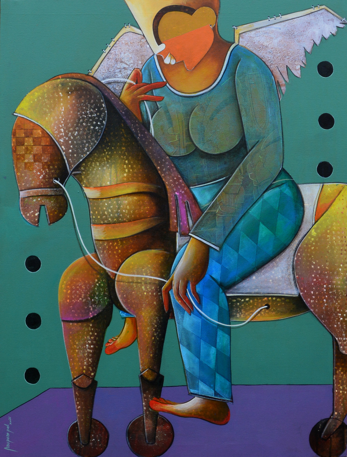 the journey of dreams by anupam pal, Decorative Painting, Acrylic on Canvas, Green color