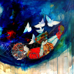 The swinging childhood ii by shiv kumar soni, Expressionism Painting, Mixed Media on Canvas, Blue color