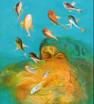 Leaping fish by Sunita komal, Expressionism Painting, Acrylic on Paper, Cyan color