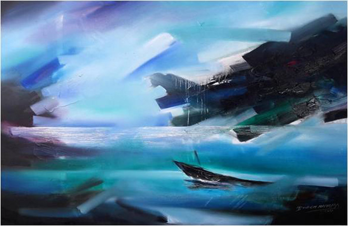 Untitled by Bheem Malhotra, Abstract Painting, Acrylic on Canvas, Blue color