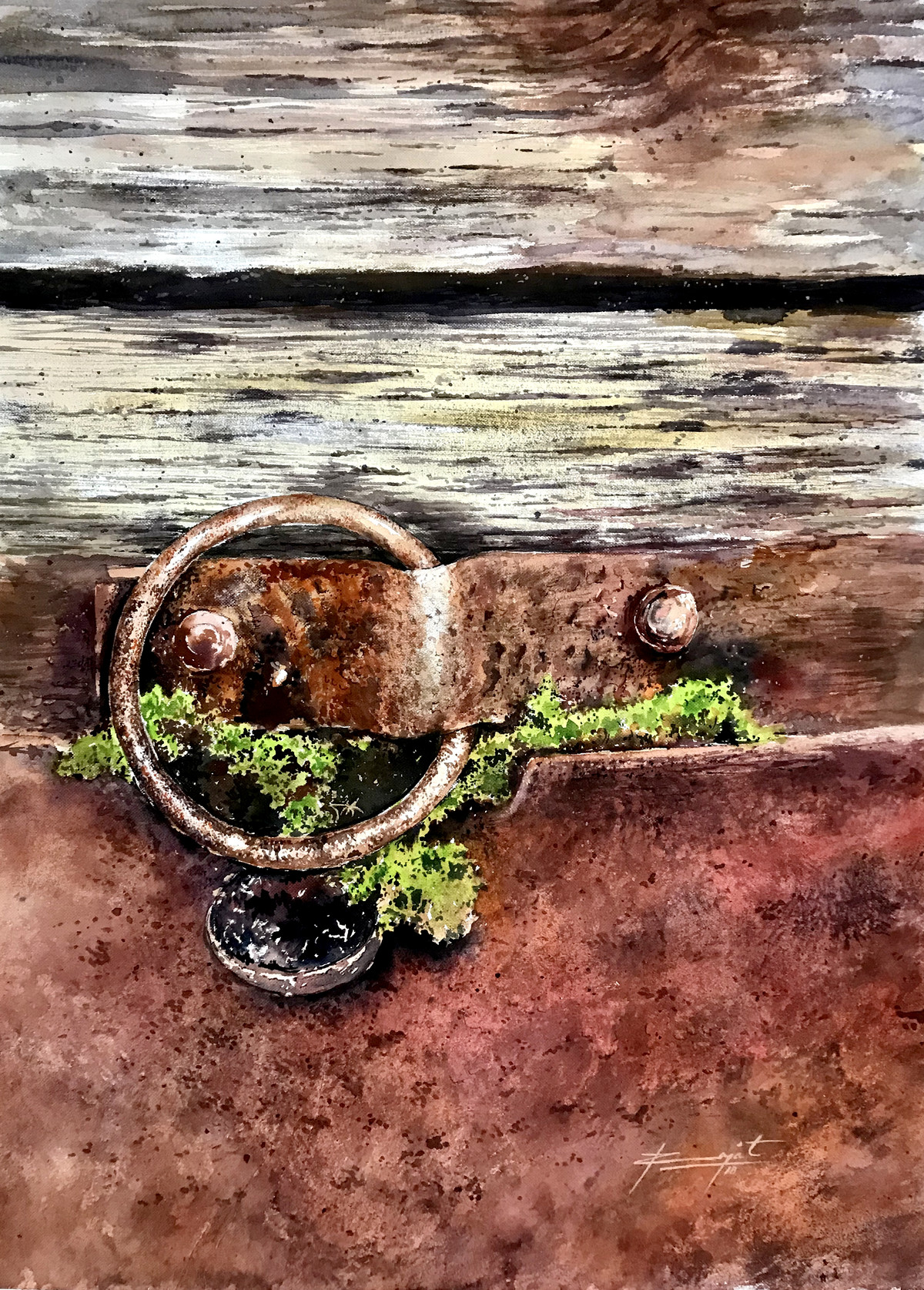 Abandoned Rust by Rajat Subhra Bandopadhyay, Impressionism Painting, Watercolor Wash on Paper, Brown color