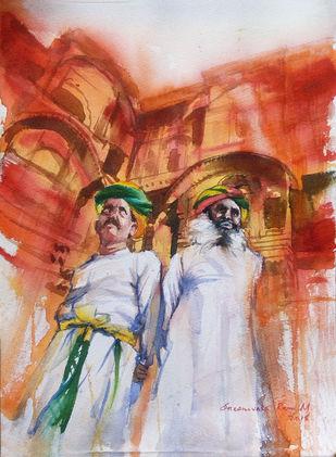 Royal Guardians by Sreenivasa Ram Makineedi, Impressionism Painting, Watercolor on Paper, Brown color
