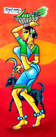 former lady by M D Rustum, Decorative Painting, Acrylic on Paper, Red color