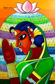 flower festival by M D Rustum, Decorative Painting, Acrylic on Canvas, Green color