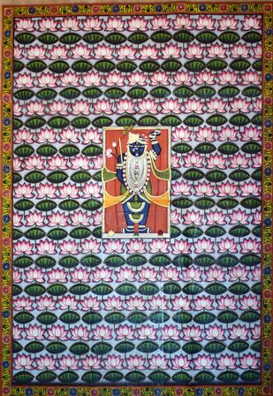 Pichwai Art by Unknown Artist, Folk Painting, Natural stone colour on cotton,