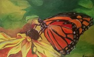 The monarch butterfly by Rupinder kaur, Expressionism Painting, Oil on Canvas, Green color