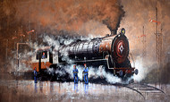 Nostalgia of Indian Steam Locomotives 42 by Kishore Pratim Biswas, Impressionism Painting, Acrylic on Canvas, Brown color