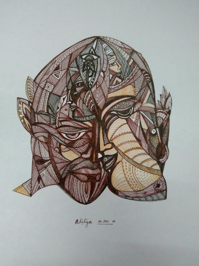 Deep in Thought by Manjula Gupta, Illustration Drawing, Pen & Ink on Paper, Gray color