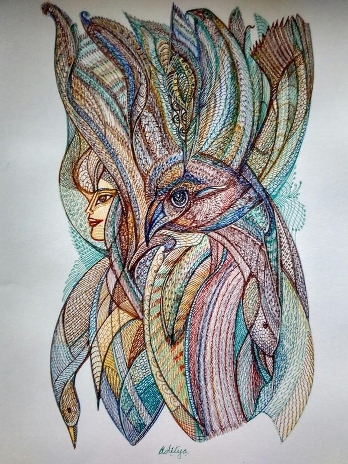 The Phoenix by Manjula Gupta, Illustration Drawing, Pen & Ink on Paper, Gray color
