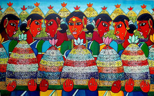 bathukamma by M D Rustum, Decorative Painting, Acrylic on Canvas, Brown color