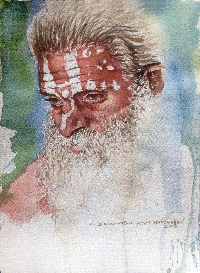 Portrait of a sadhu. by Sreenivasa Ram Makineedi, Expressionism Painting, Watercolor on Paper, Gray color