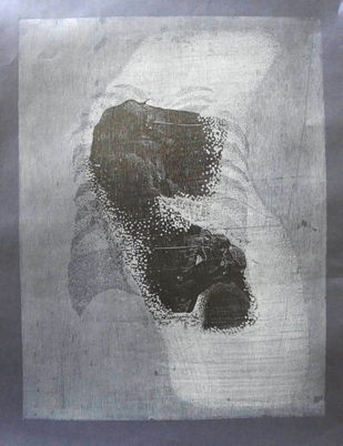 untitled by Tarun Sharma, Abstract Printmaking, Wood Cut on Paper, Gray color