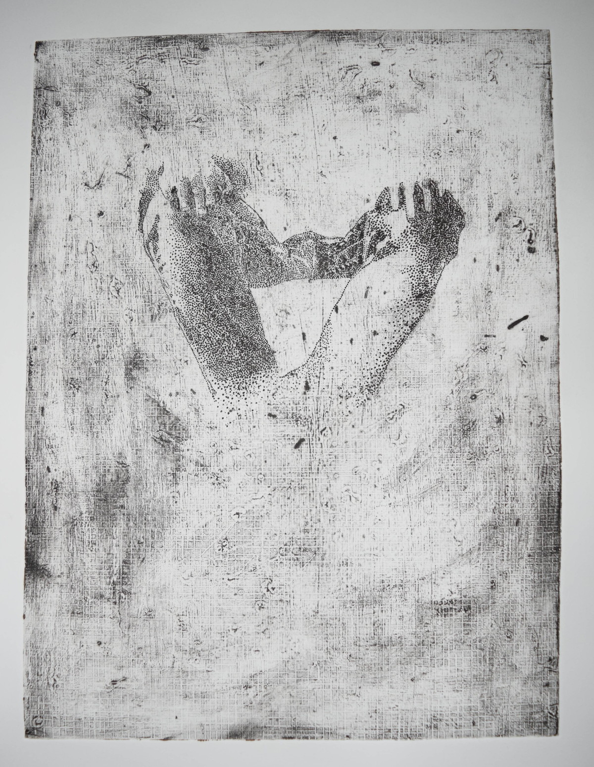 untitled by Tarun Sharma, Abstract Printmaking, Intaglio on Paper, Gray color