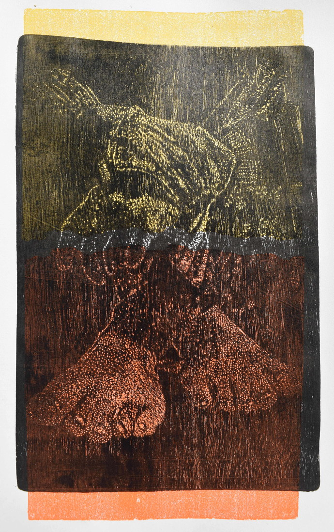 untitled by Tarun Sharma, Abstract Printmaking, Wood Cut on Paper, Brown color