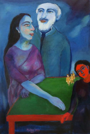 Life's Garden by Aradhna Tandon, Expressionism Painting, Acrylic on Canvas, Blue color