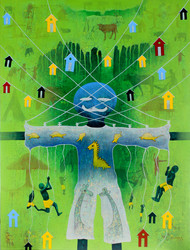 From Village to the Virtual World by Lakhan Singh Jat, Expressionism Painting, Acrylic on Canvas, Green color