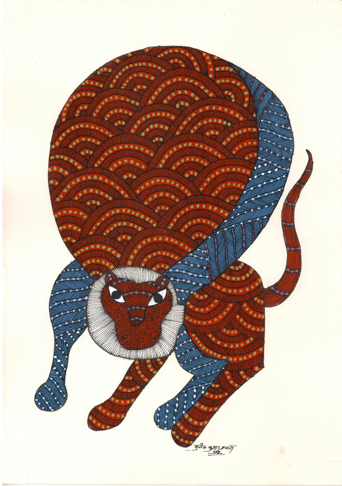 Mimicking Monkey by Sunil Shyam , Tribal Drawing, Acrylic & Ink on Paper, Beige color