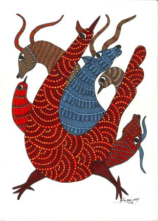 Tribal by Sunil Shyam , Tribal Drawing, Acrylic & Ink on Paper, White color