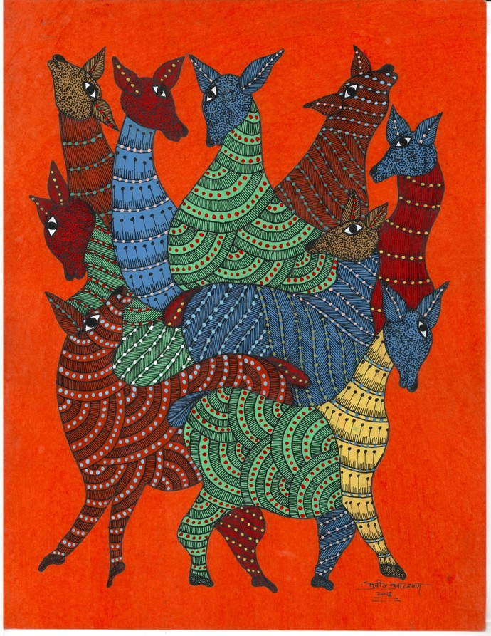 Jungle Party by Sunil Shyam , Tribal Drawing, Acrylic & Ink on Paper, Red color