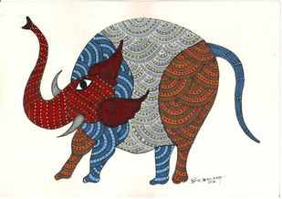 My Enormous friend by Sunil Shyam , Tribal Painting, Acrylic & Ink on Paper, Beige color