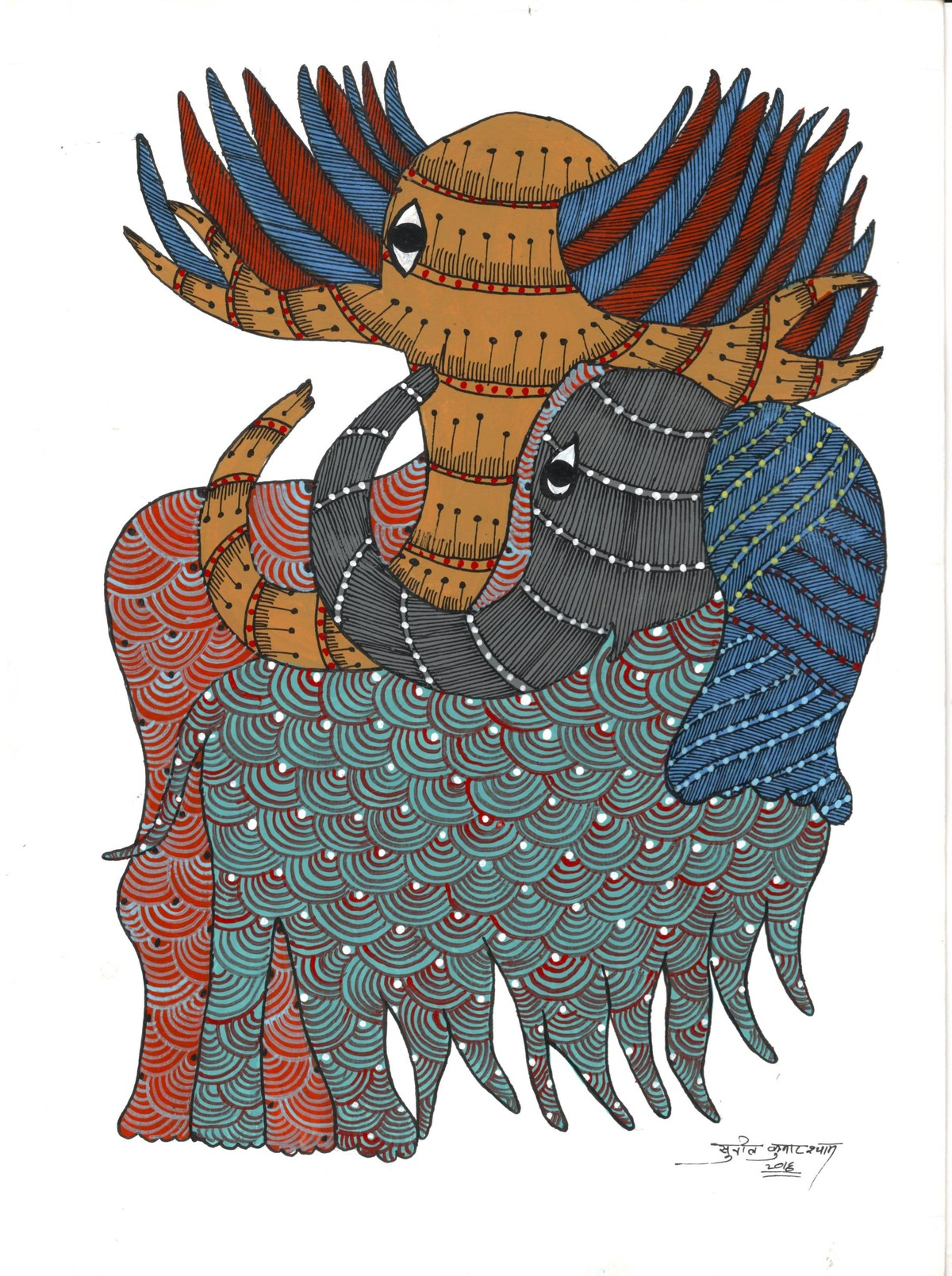 The Guardians by Sunil Shyam , Tribal Drawing, Acrylic & Ink on Paper, White color