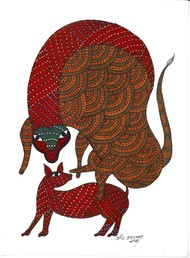 The Social Lives of Forest by Sunil Shyam , Tribal Drawing, Acrylic & Ink on Paper, Brown color