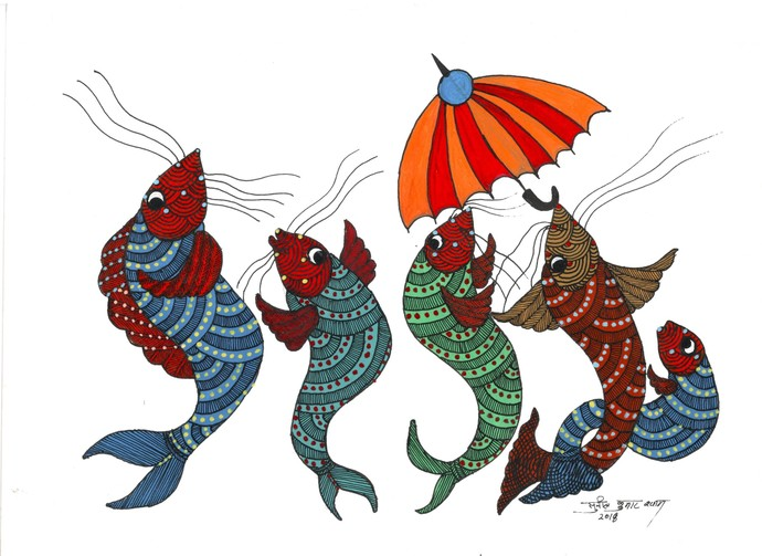 Marine Princesses by Sunil Shyam , Tribal Drawing, Acrylic & Ink on Paper, White color