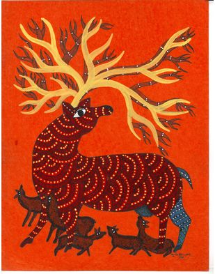Peek Through Forest by Sunil Shyam , Tribal Drawing, Acrylic & Ink on Paper, Orange color