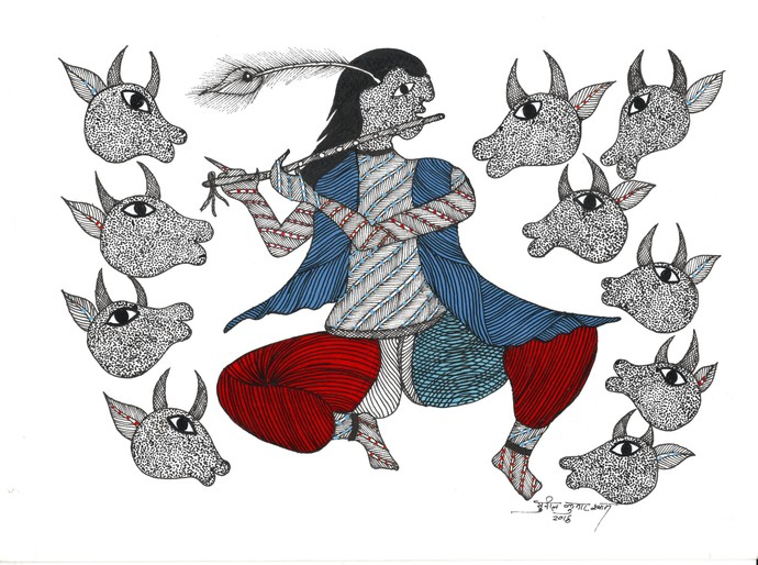 Krishna - The Flute Master by Sunil Shyam , Tribal Drawing, Acrylic & Ink on Paper, Gray color