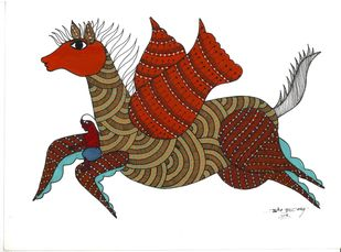 War Horse by Sunil Shyam , Tribal Painting, Acrylic & Ink on Paper, White color