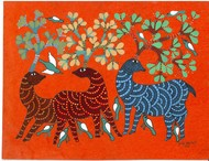 Get together in Jungle by Sunil Shyam , Tribal Drawing, Acrylic & Ink on Paper, Brown color