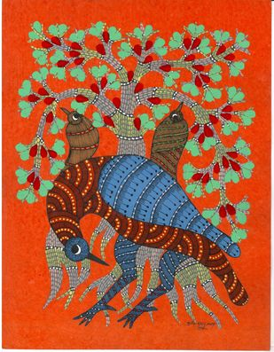 The Dancing Queens by Sunil Shyam , Tribal Painting, Acrylic & Ink on Paper, Brown color