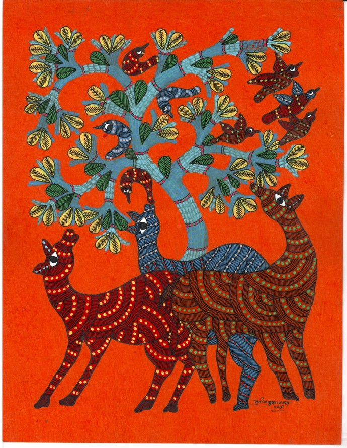 Let's Play by Sunil Shyam , Tribal Drawing, Acrylic & Ink on Paper, Brown color