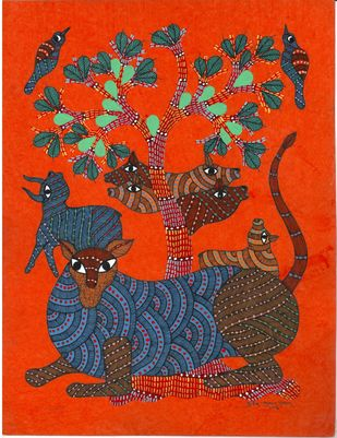 Fearless Shere Khan by Sunil Shyam , Tribal Drawing, Acrylic & Ink on Paper, Brown color