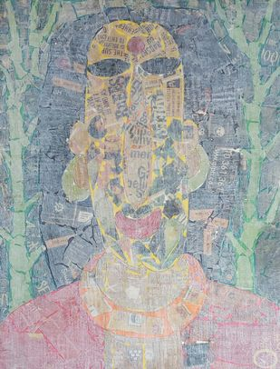 The Woman by Ramakanth Ponnaganti, Expressionism Drawing, Mixed Media on Paper, Beige color