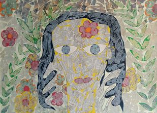 The GIrl by Ramakanth Ponnaganti, Pop Art Drawing, Mixed Media on Paper, Beige color