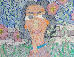 The Girl - IV by Ramakanth Ponnaganti, Expressionism Drawing, Mixed Media on Paper, Brown color
