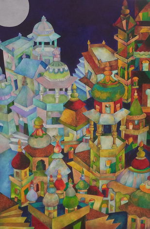 Oriental Evening by Chaitali Chatterjee, Geometrical Painting, Oil on Canvas, Brown color