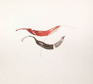 untitled 1459 by Arvind V Patel, Minimalism Drawing, Watercolor on Paper, Beige color