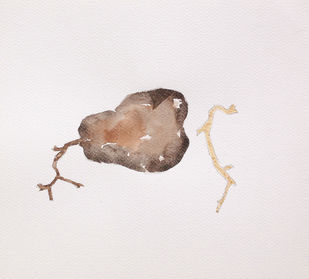 untitled 1494 by Arvind V Patel, Minimalism Drawing, Watercolor on Paper, Gray color