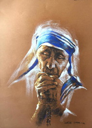 Prayers of Peace by Sanatan Dinda, Expressionism Drawing, Conte on Paper, Brown color